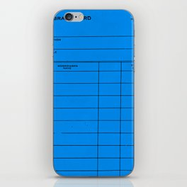 Library Card BSS 28 Blue iPhone Skin