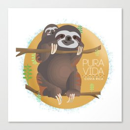 Sloth Pura Vida Canvas Print