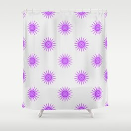 Graphic Design Flower Pattern Mauve On White Shower Curtain