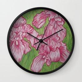 Pink Iris Flowers Wall Clock
