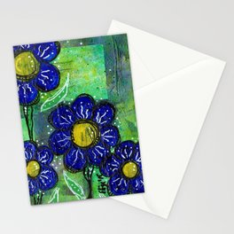 Blue Balloon Flowers V1 Stationery Cards