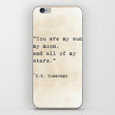 EE Cummings, Sun Moon Stars Quote, Love iPhone & iPod Skin