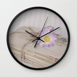 Shabby Chic Old Letters And Daisy Wall Clock