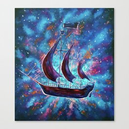 Original art for Sale Travel in space on an old sailing ship. Pirates, Peter. A ship Pan art Canvas Print