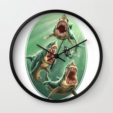 Great White Sharks #1 Wall Clock