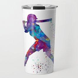 Girl Baseball Softball Batter Watercolor Silhouette Travel Mug