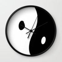 yin yang Wall Clocks featuring Yin Yang by ArtBite