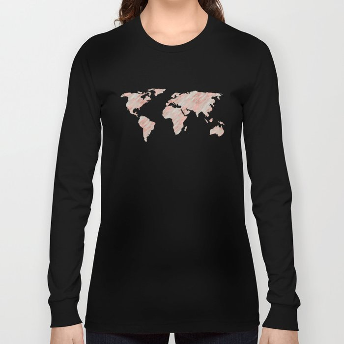 World Map Marble Rose Gold Long Sleeve T-shirt