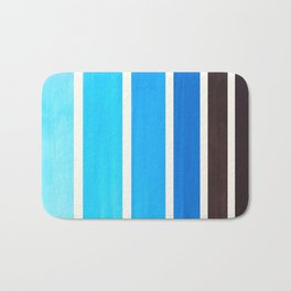 Cerulean Blue Minimalist Mid Century Modern Color Fields Ombre Watercolor Staggered Squares Bath Mat