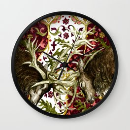 Fighting Stags Original Watercolor Wall Clock