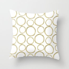 White & Gold Circles Throw Pillow