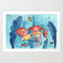 Mother, kid and cat mermaid Art Print