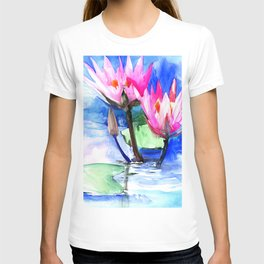 Pink Water lilies , lotus, lily pad, Bright Pink Blue Floral T-shirt