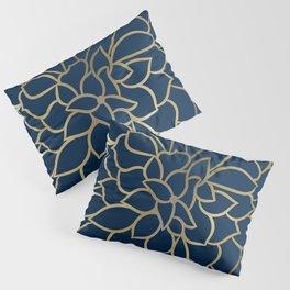 Floral Prints, Line Art, Navy Blue and Gold Pillow Sham