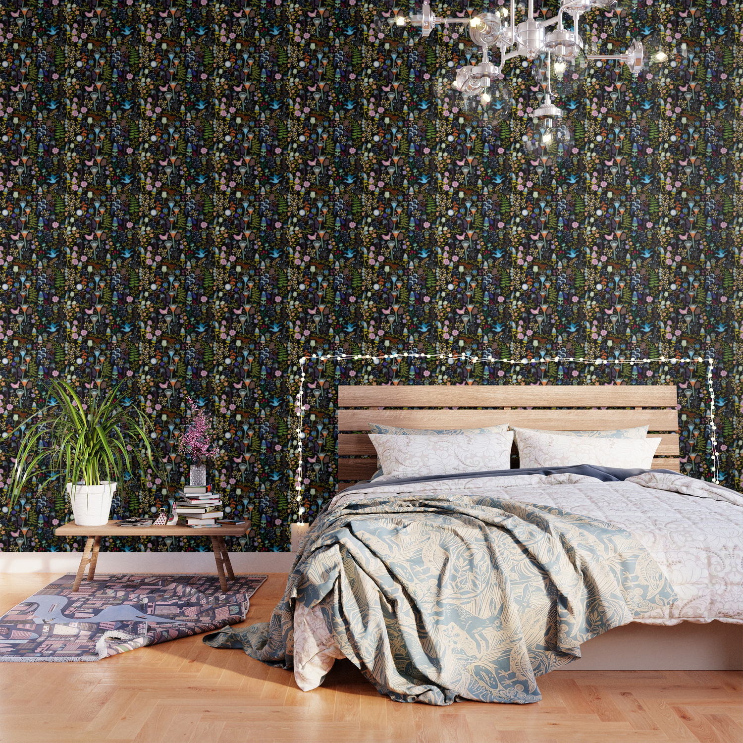 seamless pattern with bright multicolored decorative flowers on a black background wallpaper