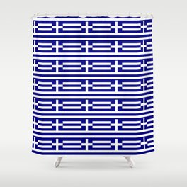 flag of greece 2-Greece,flag of greece,greek,Athens,Thessaloniki,Patras,philosophy,theater,tragedy Shower Curtain