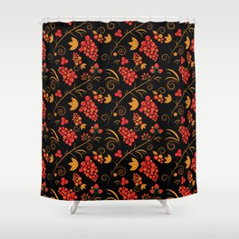 Traditional russian khokhloma print with berries and floral motives Shower Curtain