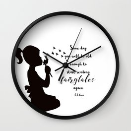 Reading Fairytales, CS Lewis Quote Wall Clock