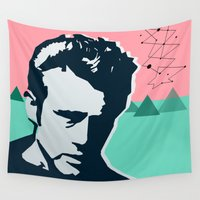 james bond Wall Tapestries featuring  james  by mark ashkenazi