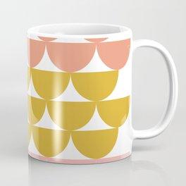Pretty Geometric Bowls Pattern in Coral and Mustard Coffee Mug