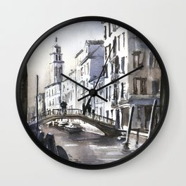 Church steeple in medieval city of Venice, Italy.  Fine art watercolor Venice artwork Italy painting Wall Clock