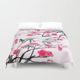 bamboo and red plum flowers in pink background Duvet Cover