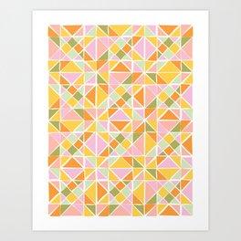 Cute Citrus Geometric Quilt Design Pattern Art Print