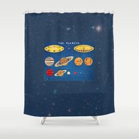 sagan Shower Curtains featuring In consideration of the shoulders of giants.  by anipani