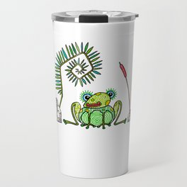 Frog, Fern, Bulrush and Rocks Travel Mug