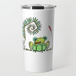 Frog, Fern, Bulrush and Rocks Travel Mug