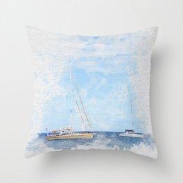 Sail boats on a calm sea Throw Pillow