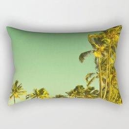 palm love in tropical green gold jewel tones Rectangular Pillow