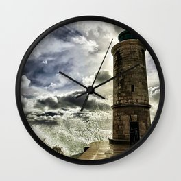 Marseille Lighthouse Old Port Wave Photograph Wall Clock