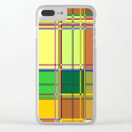Caribbean Colorful Fabric Madras Tartan Clear iPhone Case