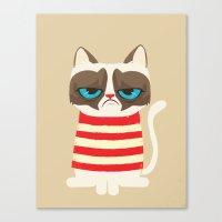 meme Canvas Prints featuring Grumpy meme cat  by UiNi