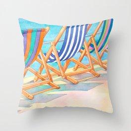 Beach Chairs 1 Throw Pillow