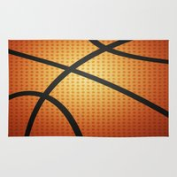 basketball Area & Throw Rugs featuring Basketball by Debra Ulrich