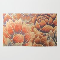 lotus flower Area & Throw Rugs featuring Lotus by Jess Moore