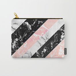 Modern black white pastel pink marble color block stripes Carry-All Pouch