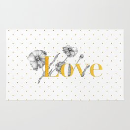 Love - Gold flowers and polka dots on white Rug
