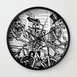 Calavera Cyclists | Black and White Wall Clock