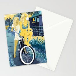 The girls on the bike Stationery Cards
