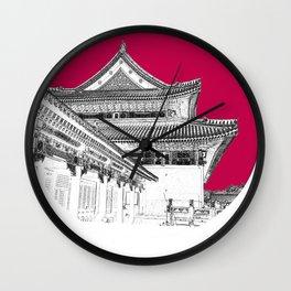 Forbidden City Detail; Study in Crimson Wall Clock