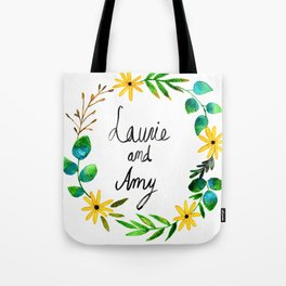 Little Women Amy and Laurie Flower Wreath Tote Bag