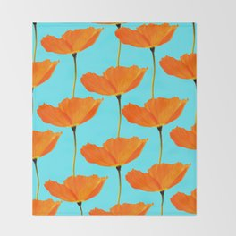 Poppies On A Turquoise Background #decor #society6 #buyart Throw Blanket