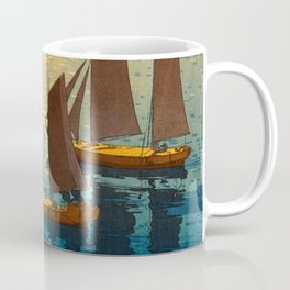 Hiroshi Yoshida Vintage Japanese Woodblock Art Ocean Sunset Sailboat Orange Blue Color Hues Coffee Mug