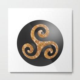 3d metallic glitter triskel sphere Metal Print