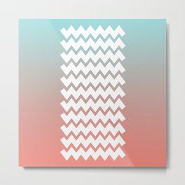 Chevron on Peach Echo and Limpet Shell Gradient Metal Print