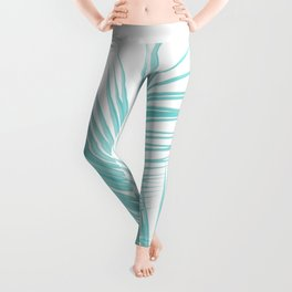 Soft Turquoise Palm Leaves Dream - Cali Summer Vibes #1 #tropical #decor #art #society6 Leggings