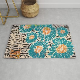 Turquoise letters Rug